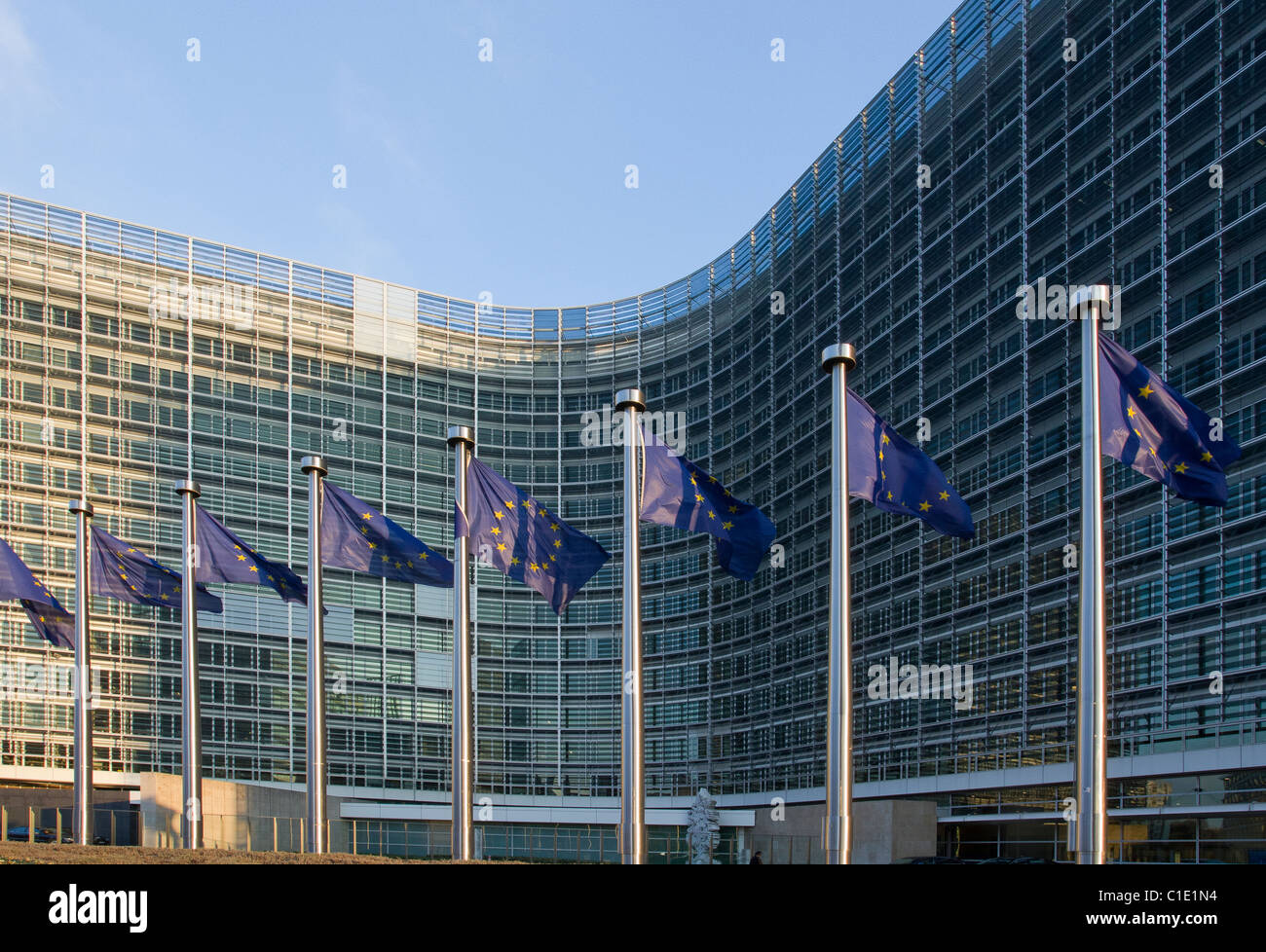 berlaymont brussels european commission building flags offices - Stock Image