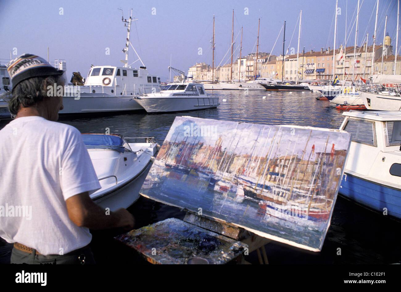 France, Var, Saint Tropez, spare time painter - Stock Image