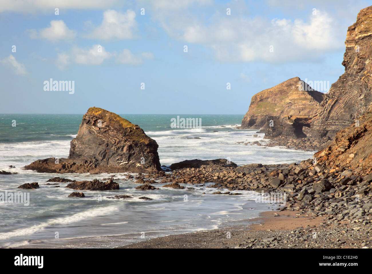 Samphire Rock on The Strangles Beach near Crackington Haven in North Cornwall - Stock Image