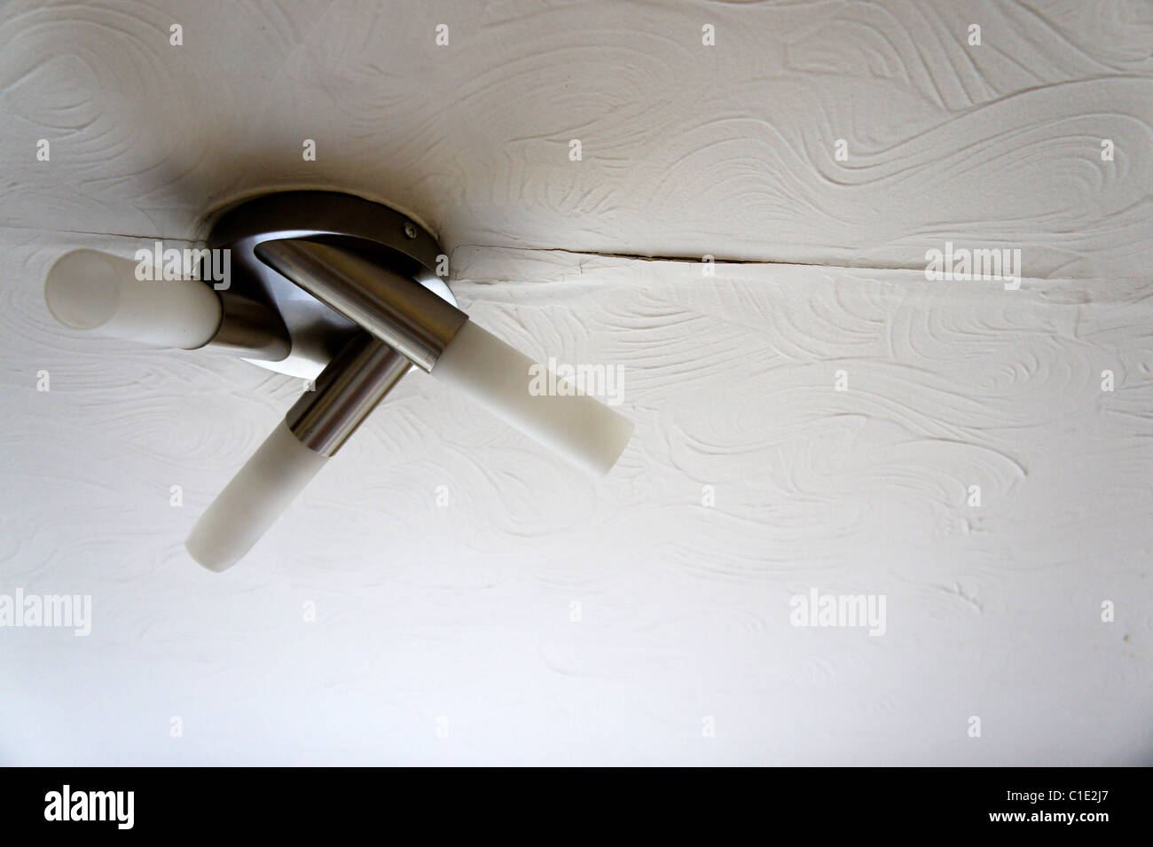 Water damaged ceiling, plaster, leak - Stock Image