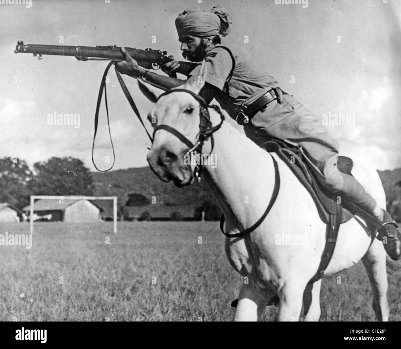 BURMA  CAMPAIGN 1944 Mounted Sikh cavalry part of General Alexander's forces fighting the Japanese - Stock Image