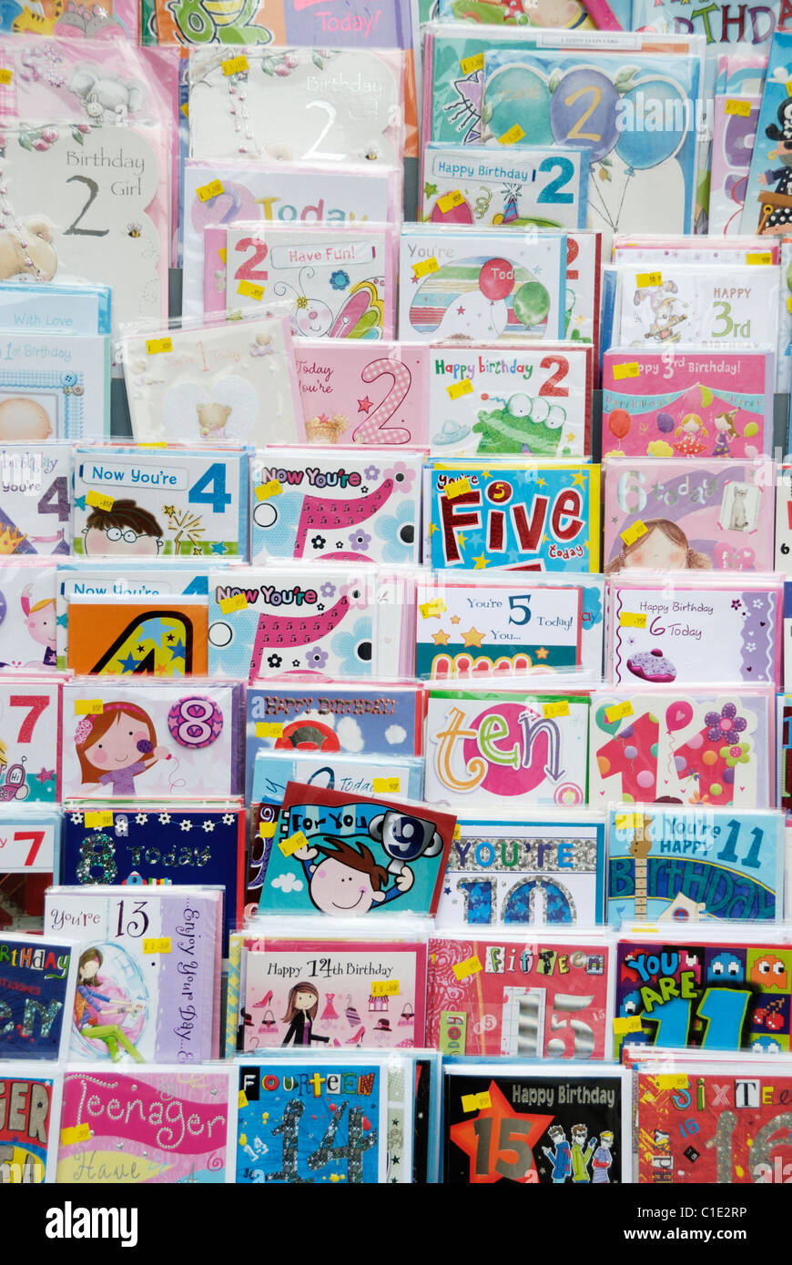 Shop Display Of Childrens Birthday Cards Stock Photo 35344954 Alamy