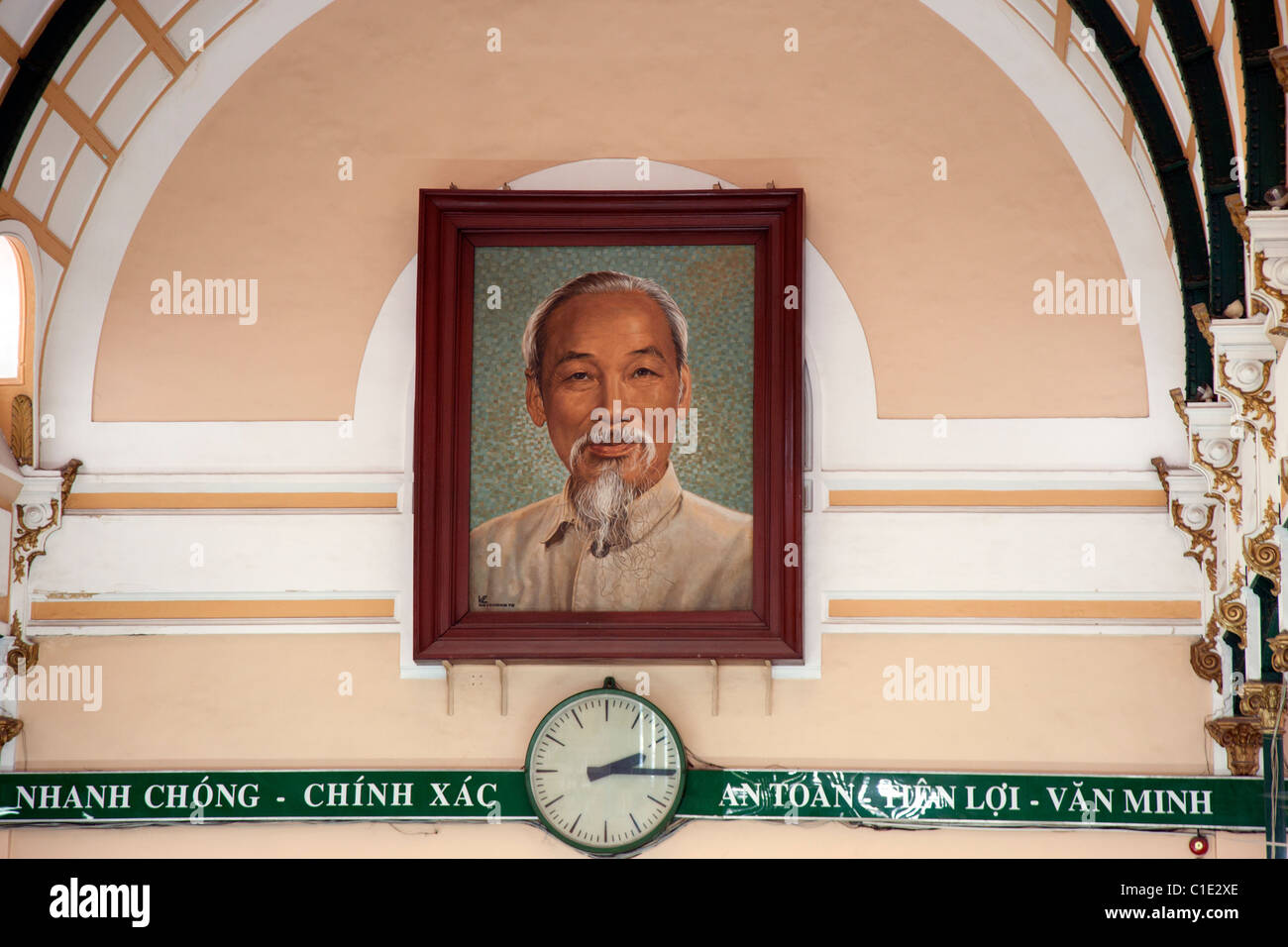 Picture of Ho Chi Minh in the Main Post Office in Saigon - Stock Image