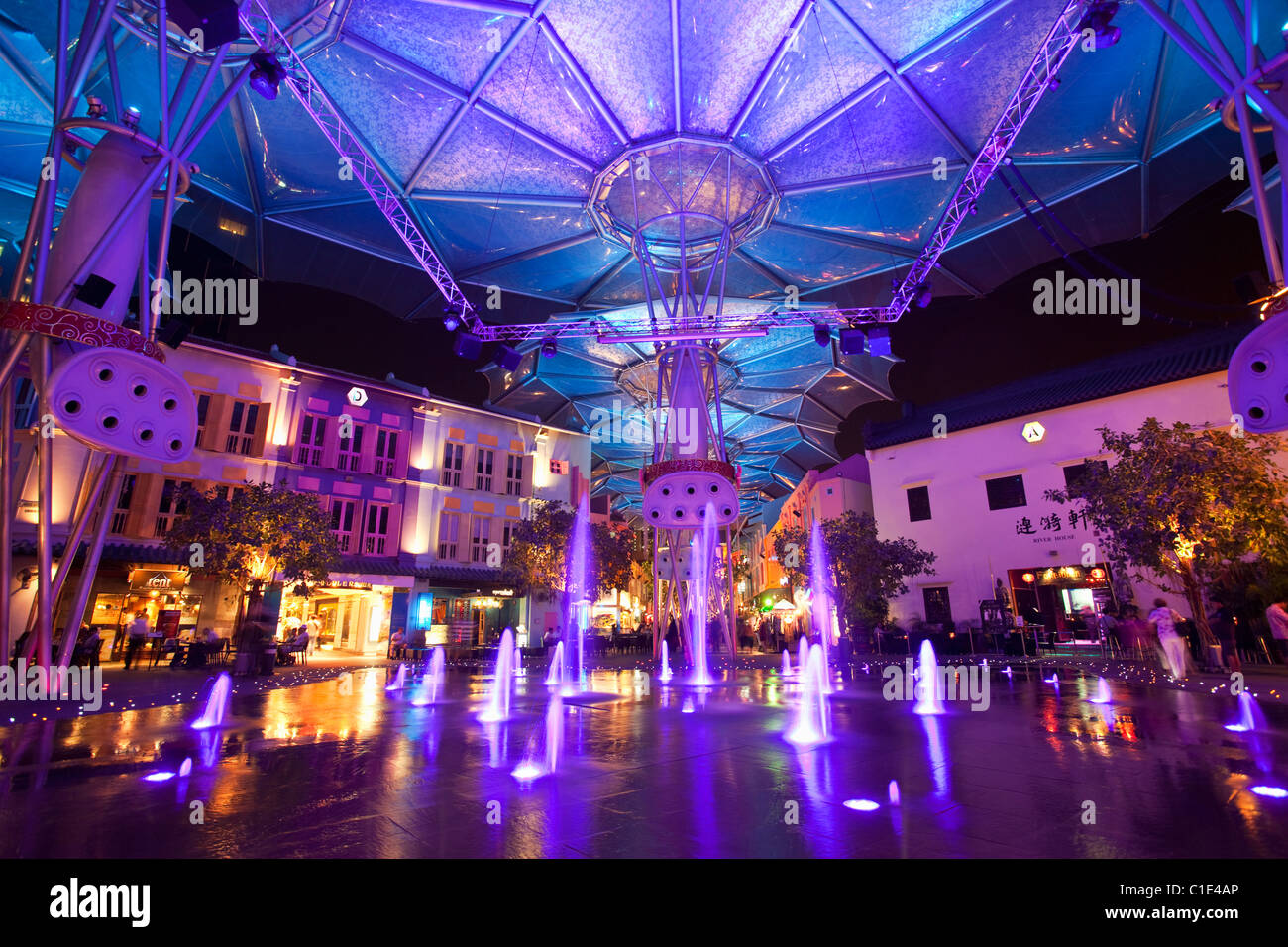 Colourful architecture at the bar and restaurant district of Clarke Quay, Singapore - Stock Image
