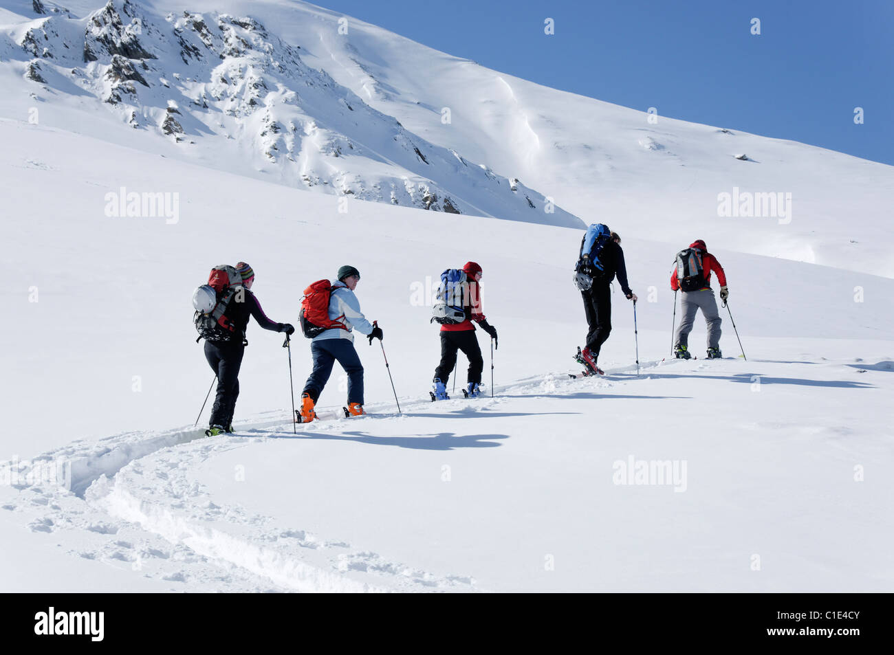 A group of ski tourers in the Silvretta region of Austria Stock Photo