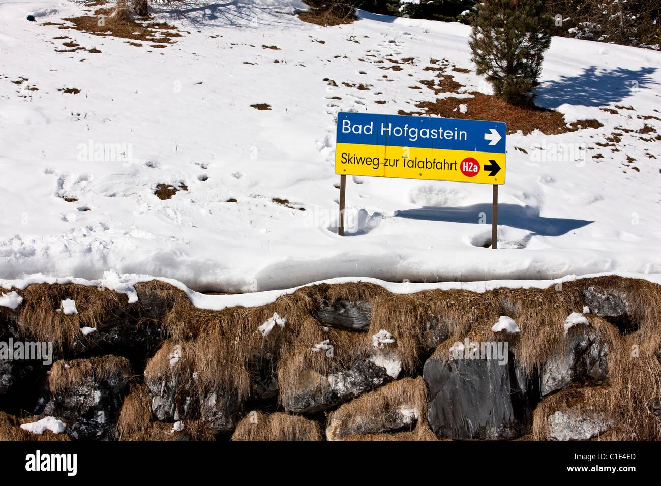 Ski run sign on slope above the ski resort of Bad Hofgastein. - Stock Image