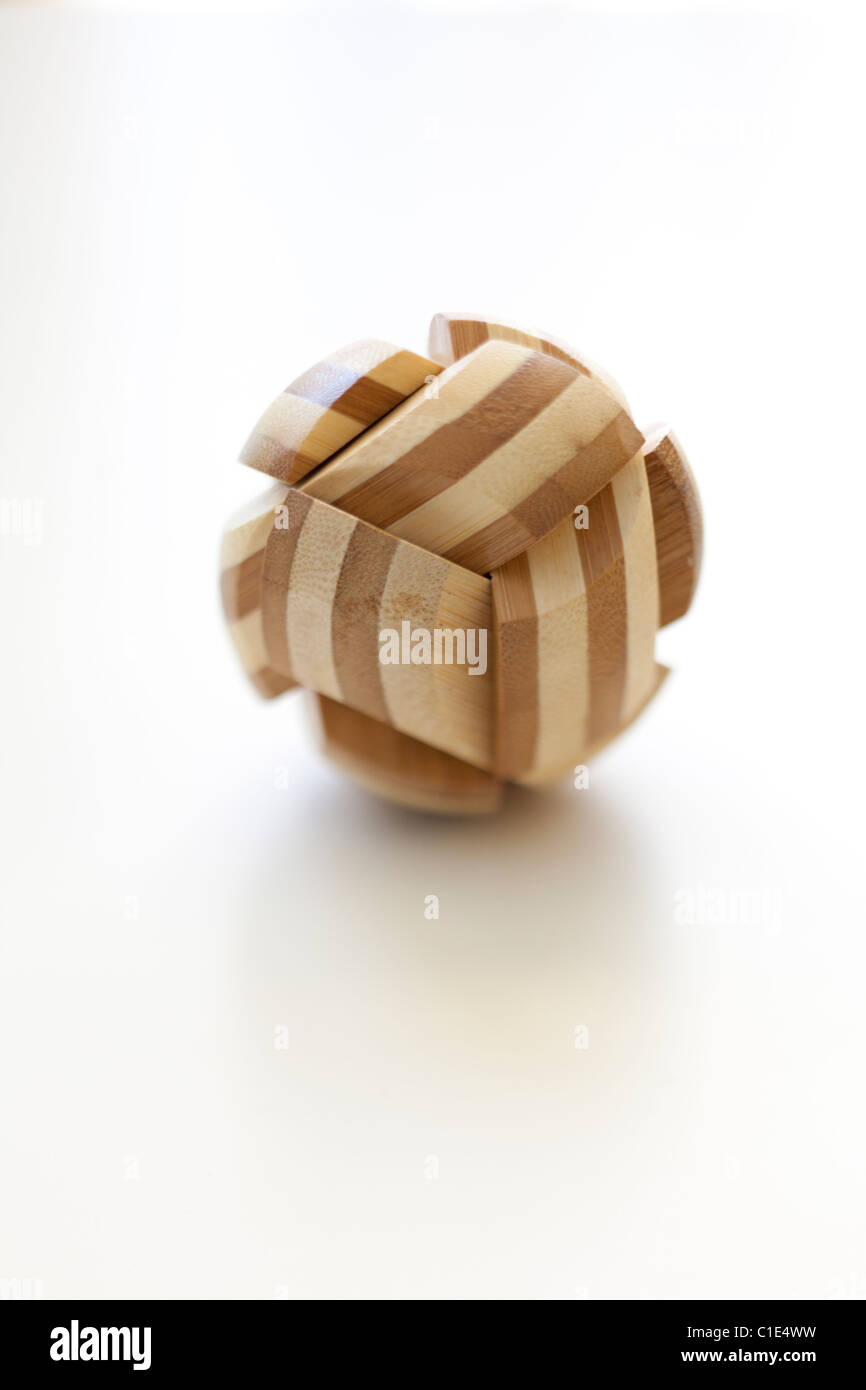 round wooden math puzzle toy - Stock Image