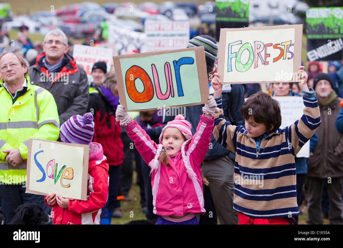 People protesting in Grizedale Forest, Lake District, against the governments proposals to sell off Forestry Commission Stock Photo