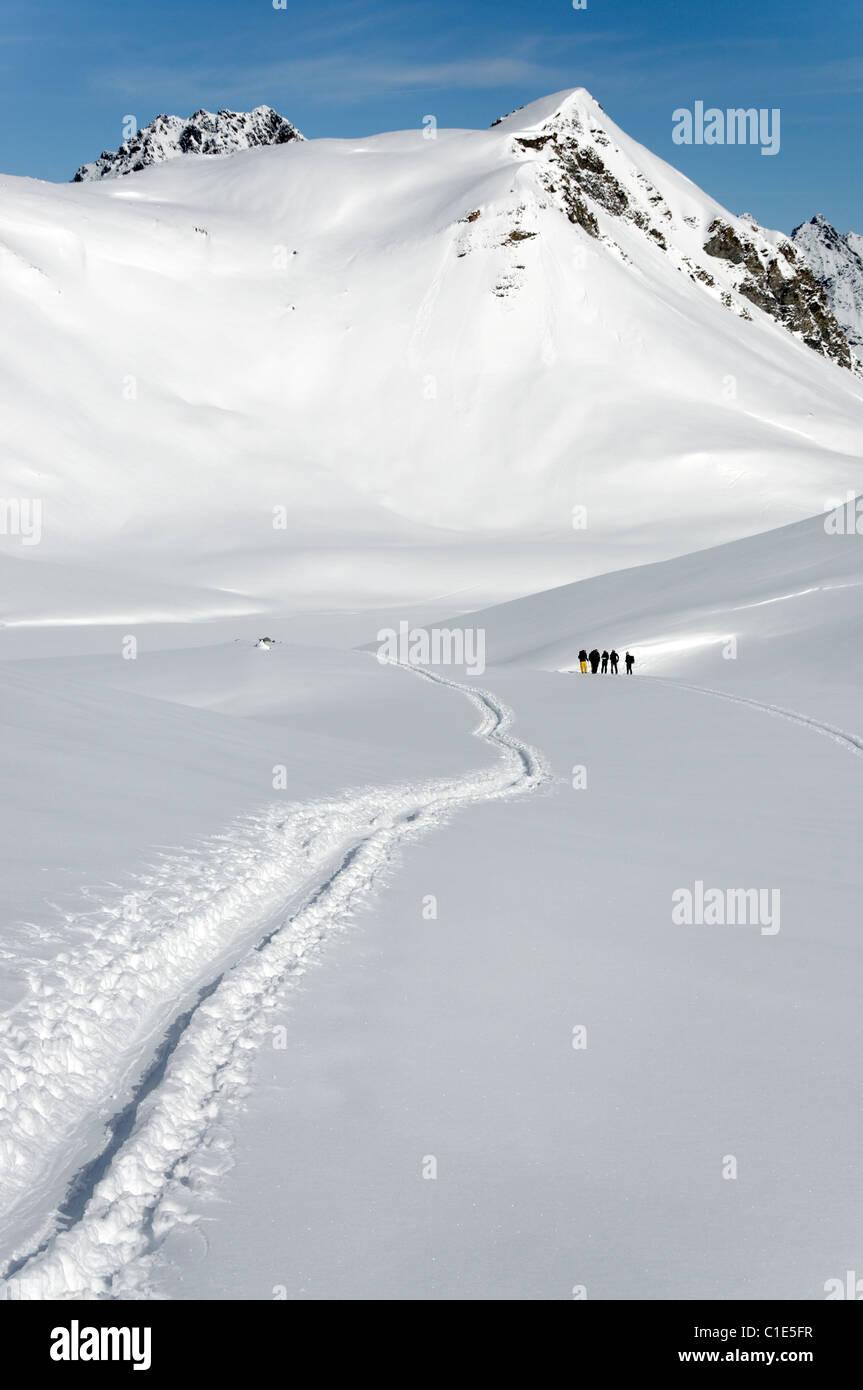 A group of ski tourers in the Silvretta region of Austria Stock Photo