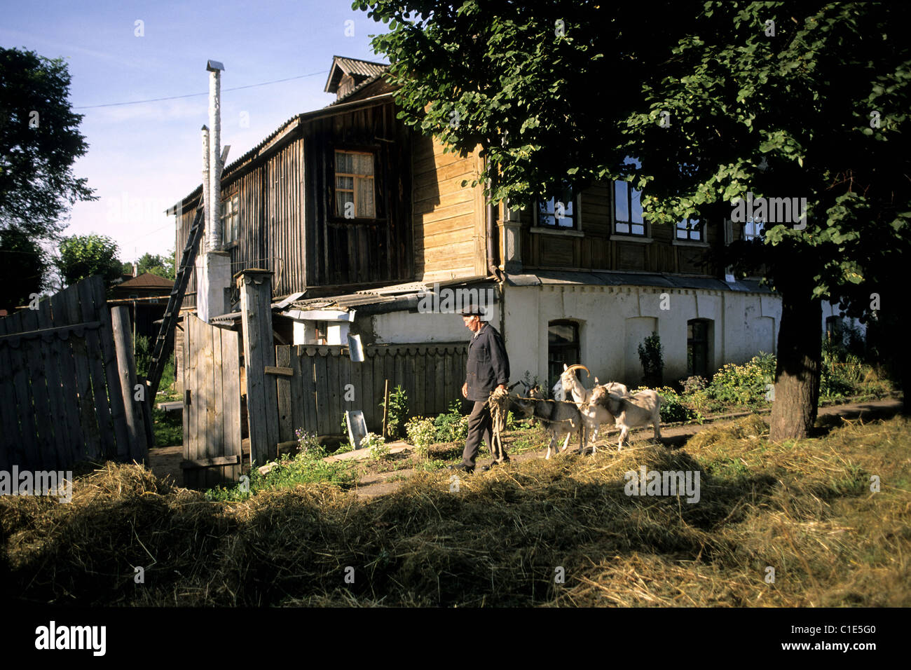 Russia, Golden Ring, Suzdal, an Izba (wooden house) - Stock Image
