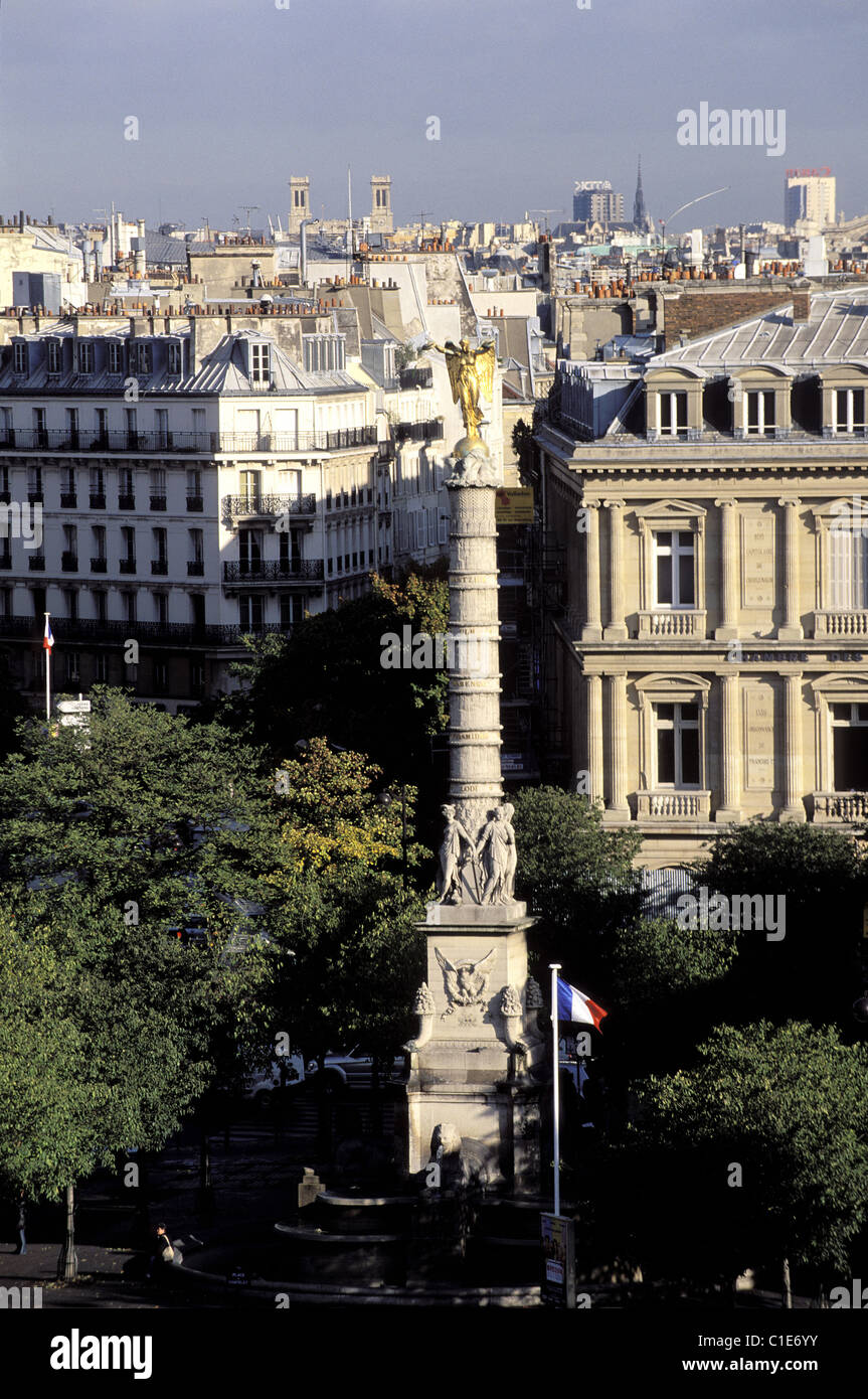 France, Paris, Châtelet Square, Fountain And The Elected Board Of Notary    Stock