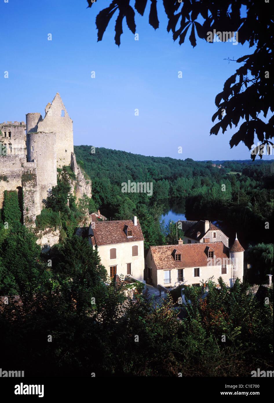 France, Vienne, Angles sur l' Anglin village, labelled Les Plus Beaux Villages de France (The Most Beautiful - Stock Image