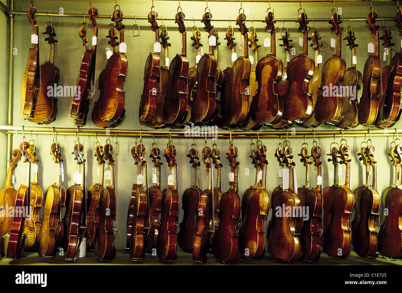 France, Paris, violins, Watelot Rampal stringed instrument maker - Stock Image
