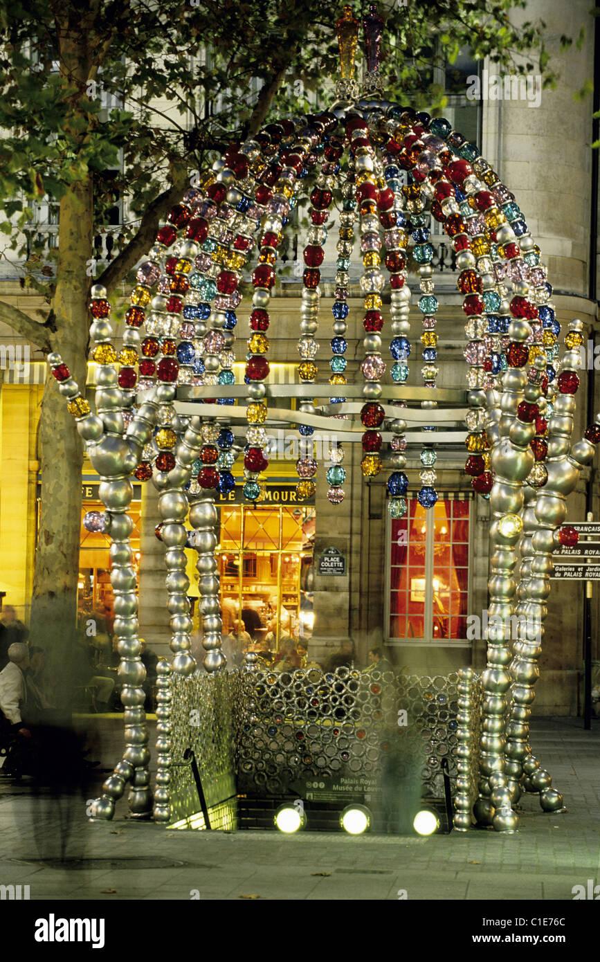France, Paris, Place du Palais Royal, stylised Metro entrance by artist Jean Michel Othoniel - Stock Image