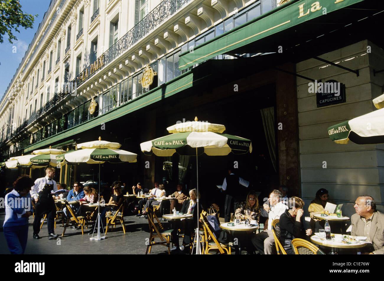 France, Paris, Cafe de la Paix, Capucines boulevard and place of the ...