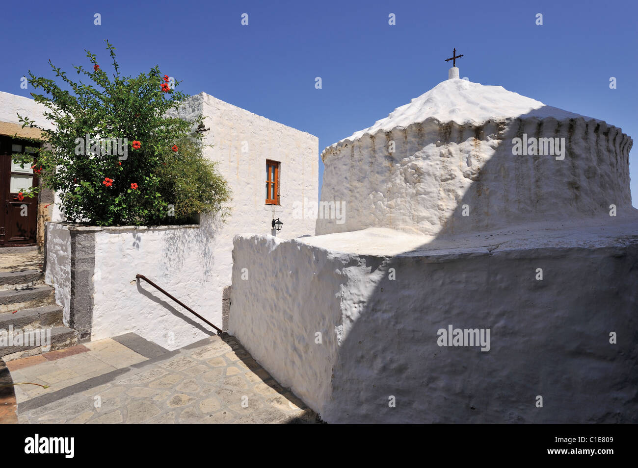 The interior of the Apocalypse' Monastery in Patmos - Stock Image