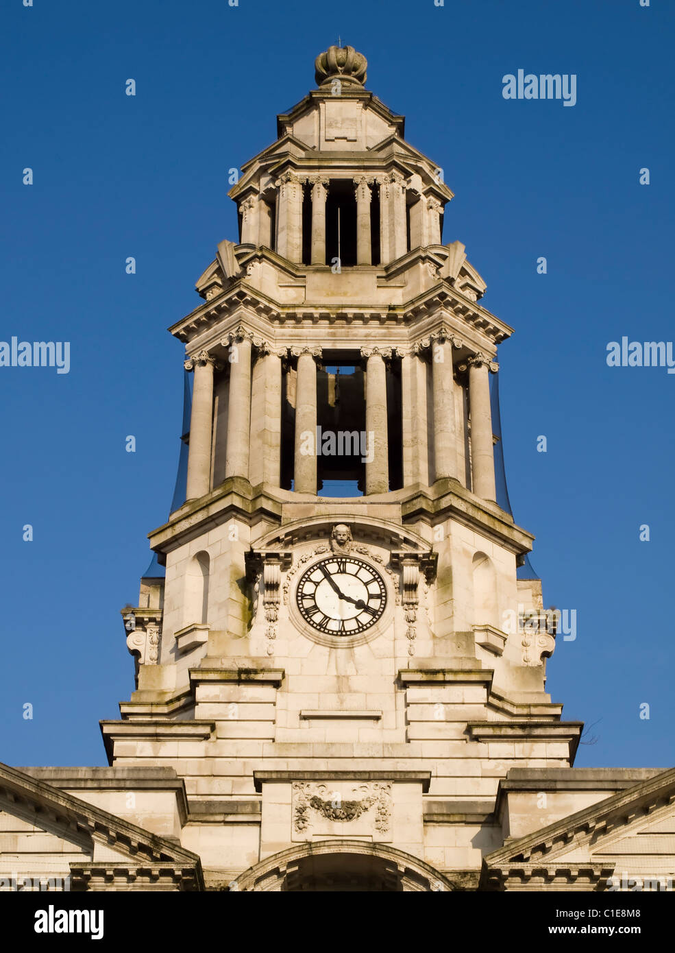 The clock tower of the town hall at Stockport, built in 1908 using white Portland stone, inspired by Christopher - Stock Image