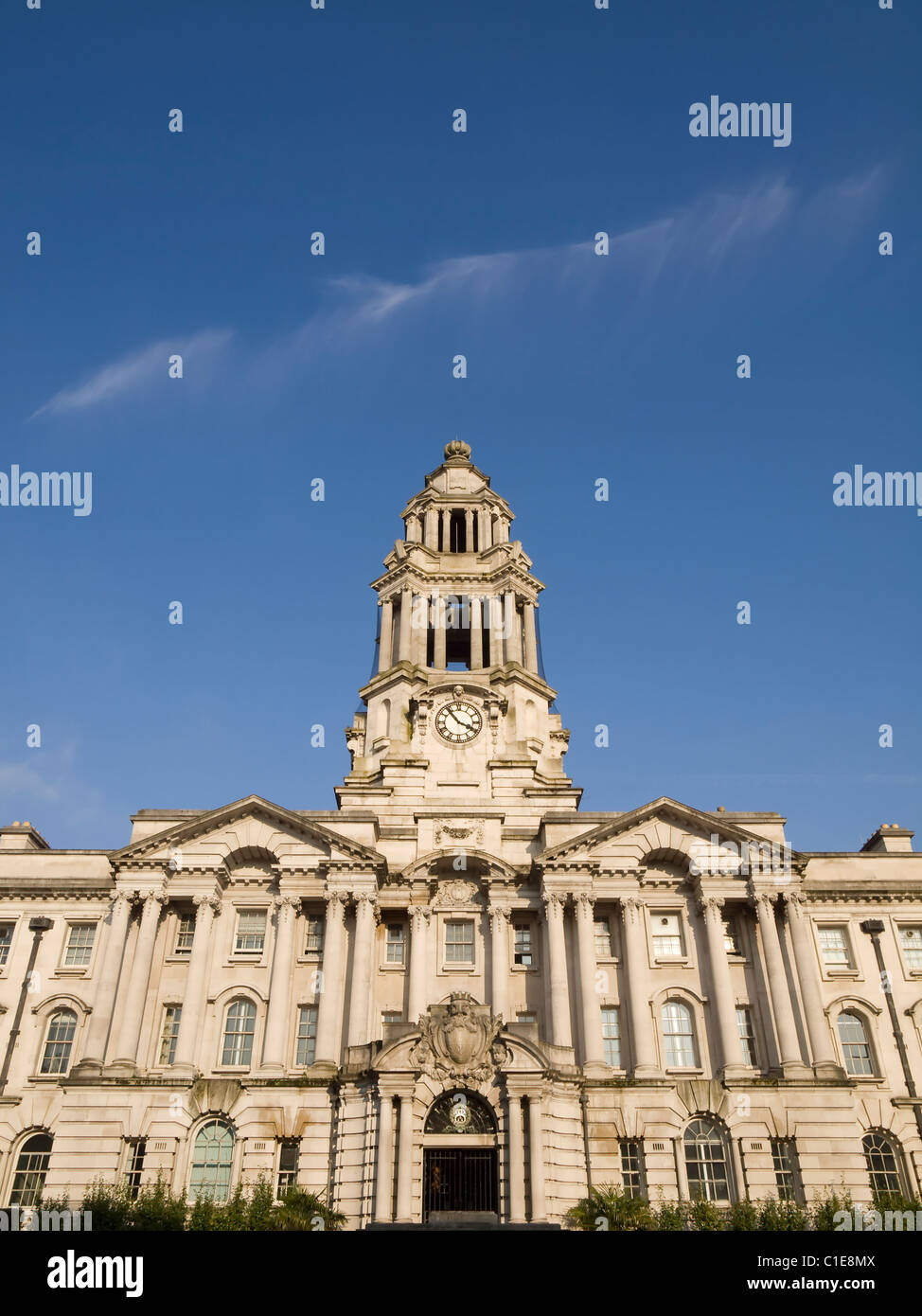 Stockport town hall entrance and clock tower, England - Stock Image