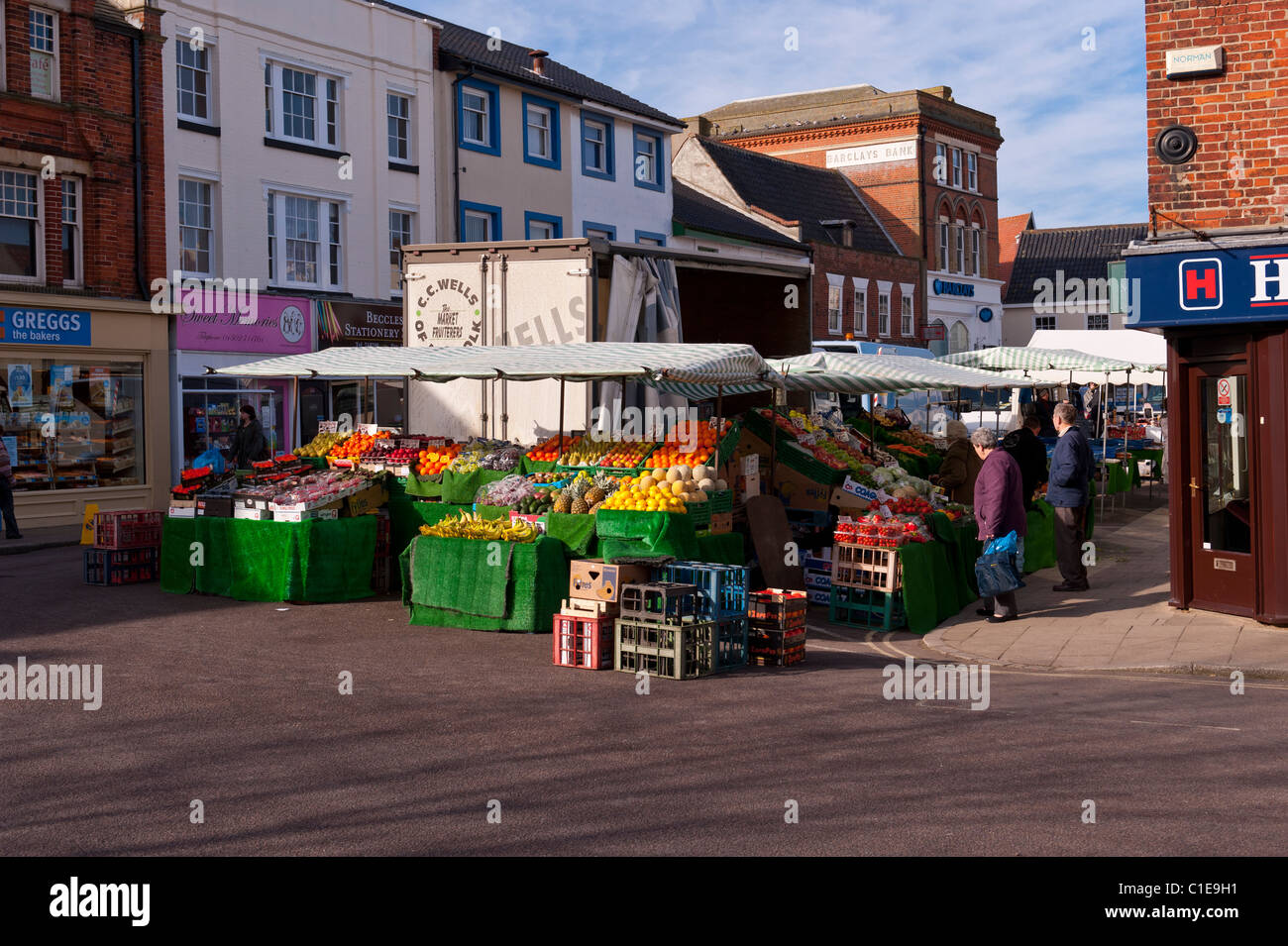 The Friday outdoor market in Beccles , Suffolk , England , Britain , Uk - Stock Image
