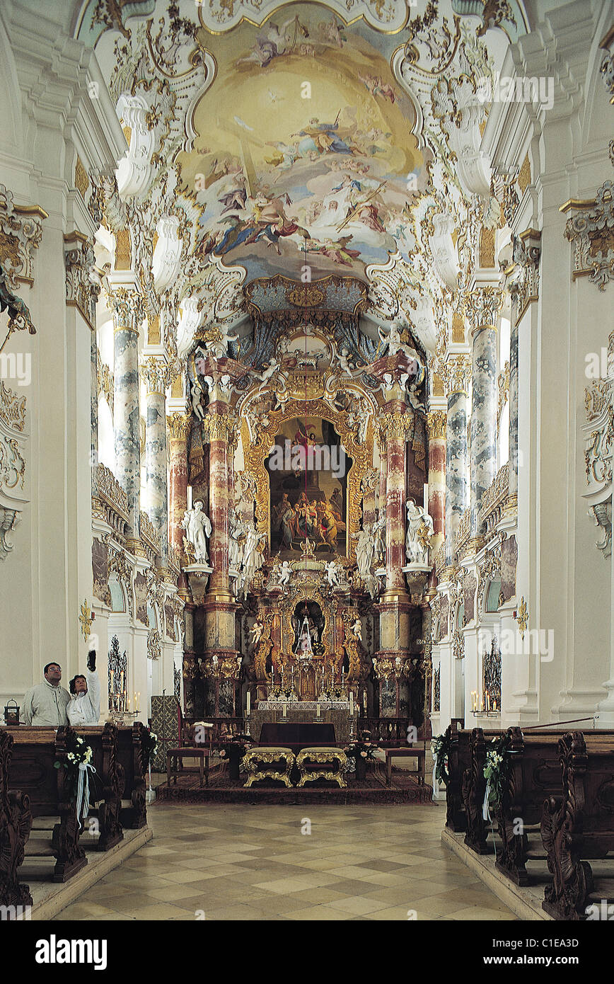 Germany, region of Bavaria, Wiese baroque style church, nave - Stock Image