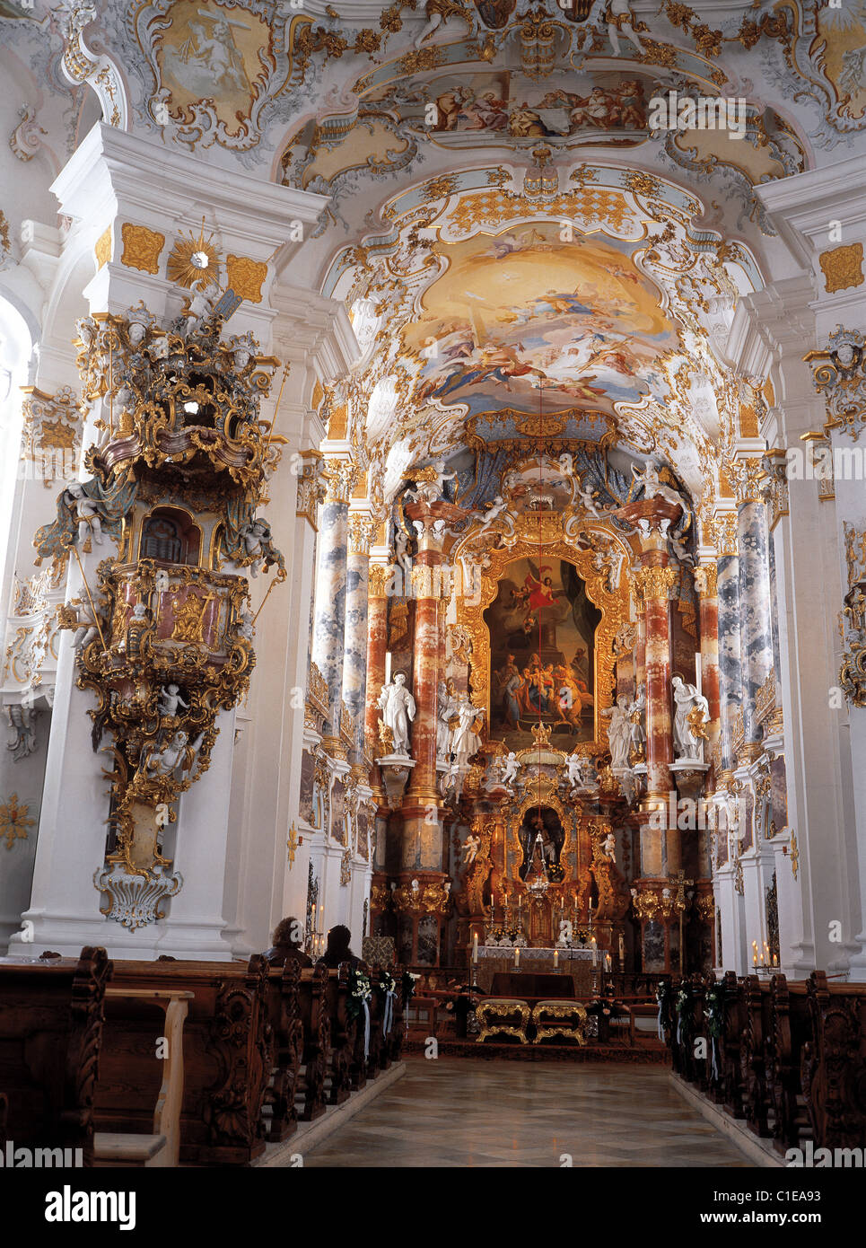 Germany, Region of Bavaria, Wiese baroque church, nave - Stock Image