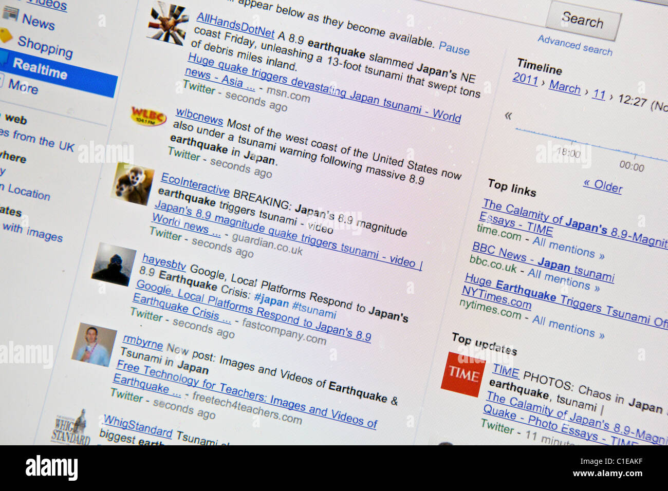 Japan earthquake and tsunami. 11.03.11. Screen grab from internet as realtime news emerges from Japan through Google. - Stock Image