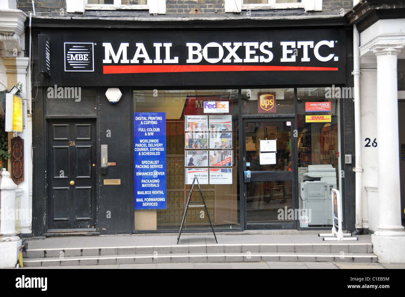 Mail Boxes Etc mail box services commercial private mail collection - Stock Image