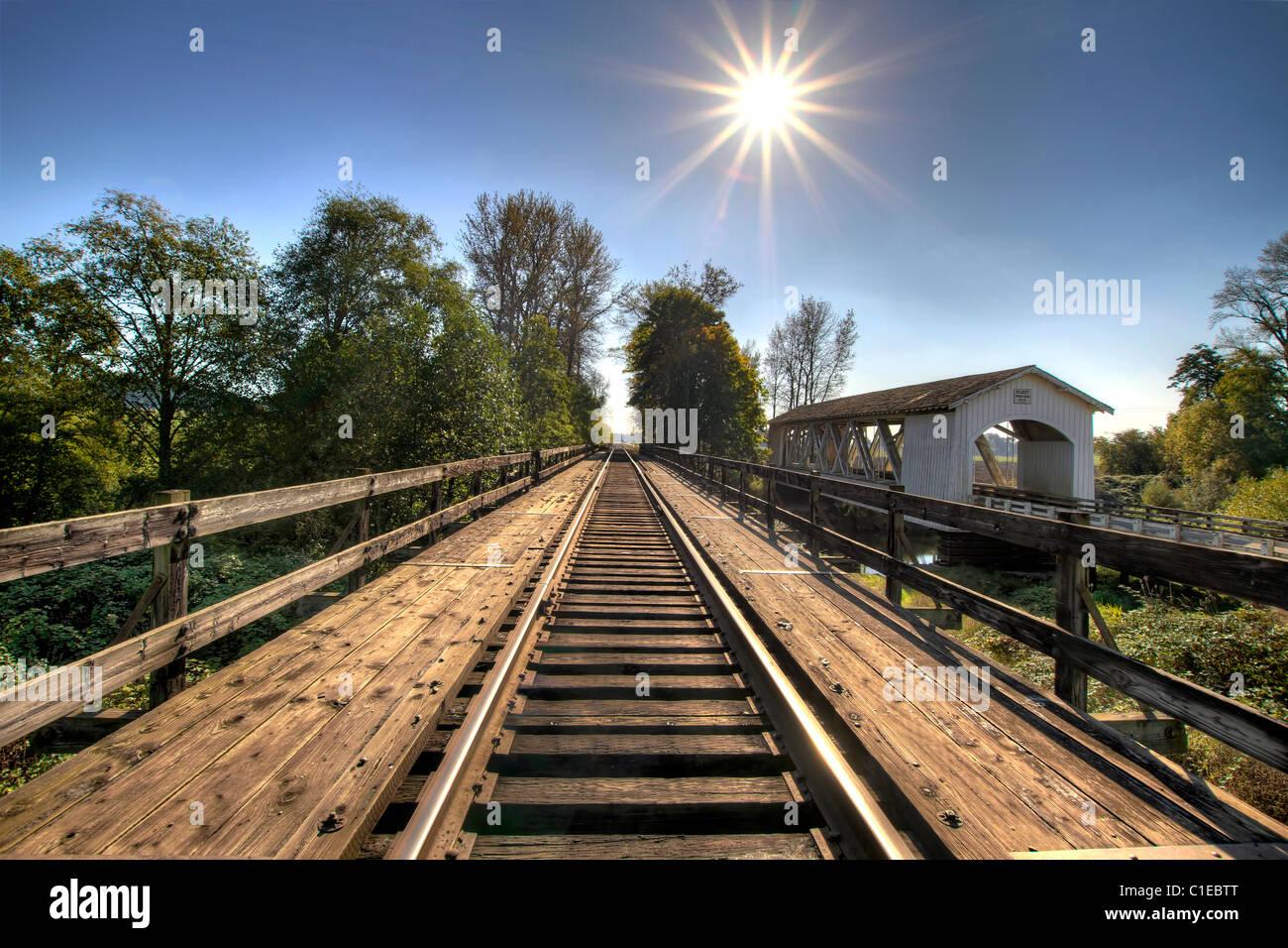 Railroad Track Bridge Over Thomas Creek Oregon 2 - Stock Image