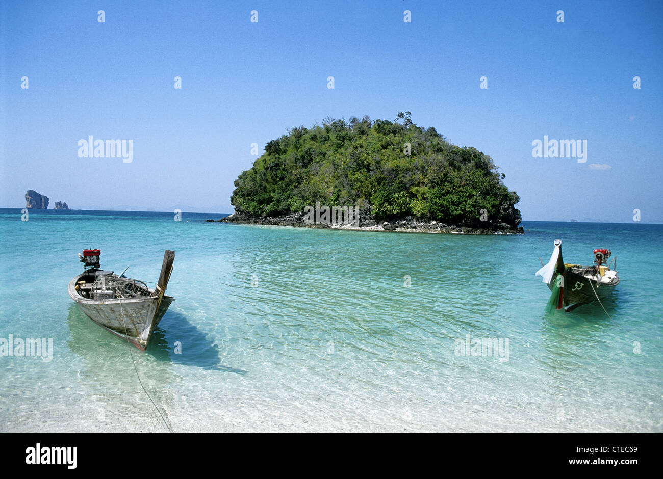 Thailand province of Krabi off Railay Long Tail Boat at the Island ...