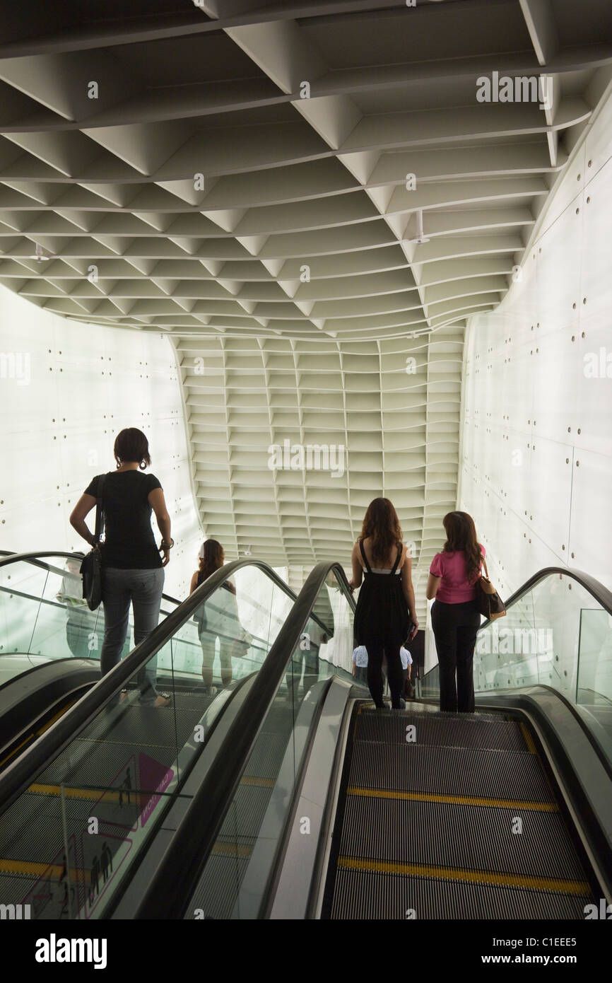 Futuristic interior of the ION Orchard Mall, Orchard Road, Singapore - Stock Image