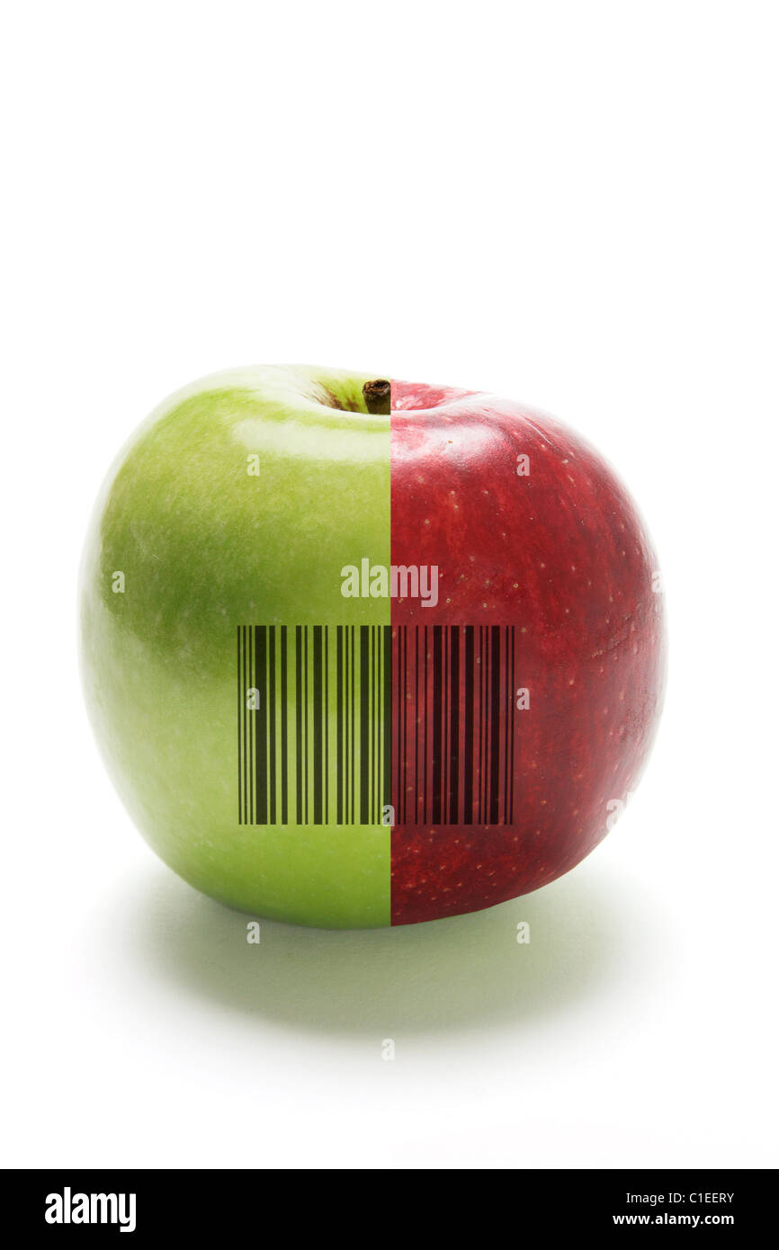 Hybrid Apple with Bar Code - Stock Image