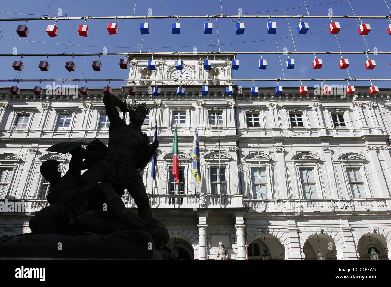 Italy Piedmont region Turin city the Palazzo di Citta head office of the municipality of Turin a Baroque Palace - Stock Image