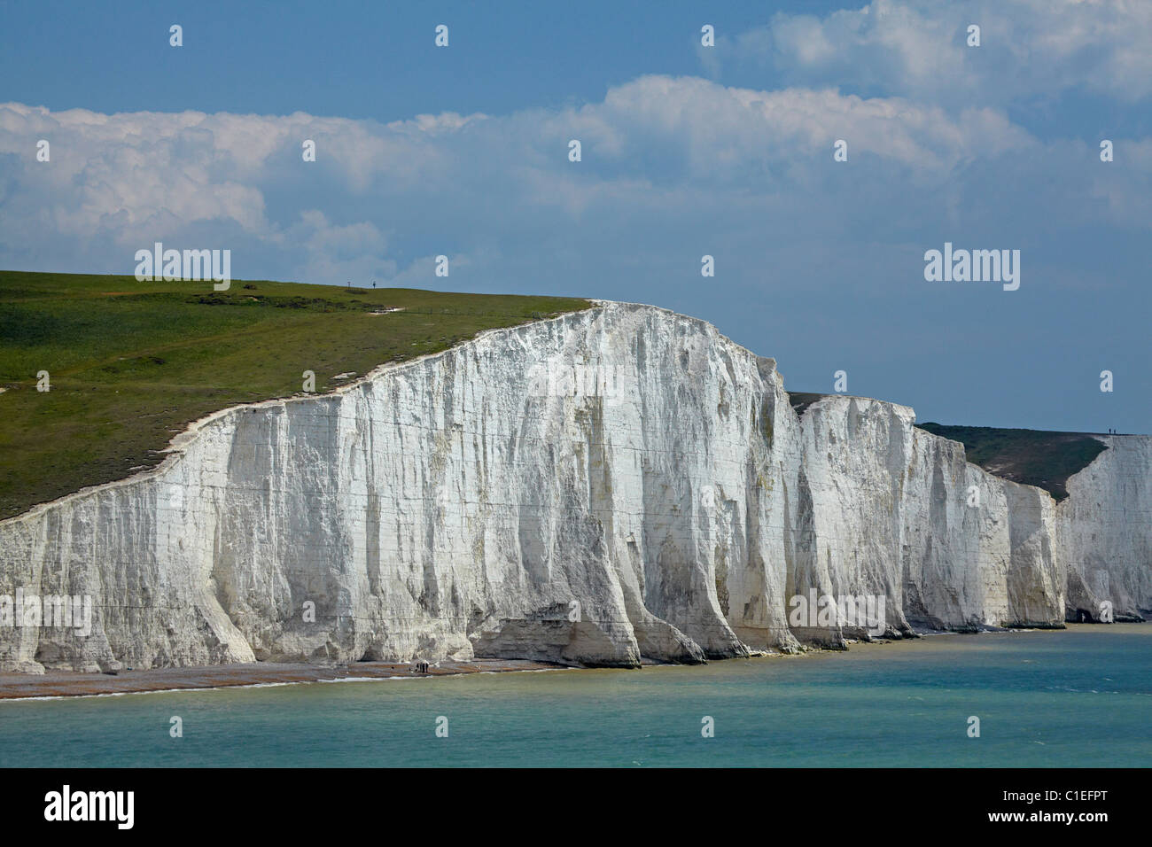 Seven Sisters Chalk Cliffs, seen from Cuckmere Haven, near Seaford, East Sussex, England, United Kingdom - Stock Image