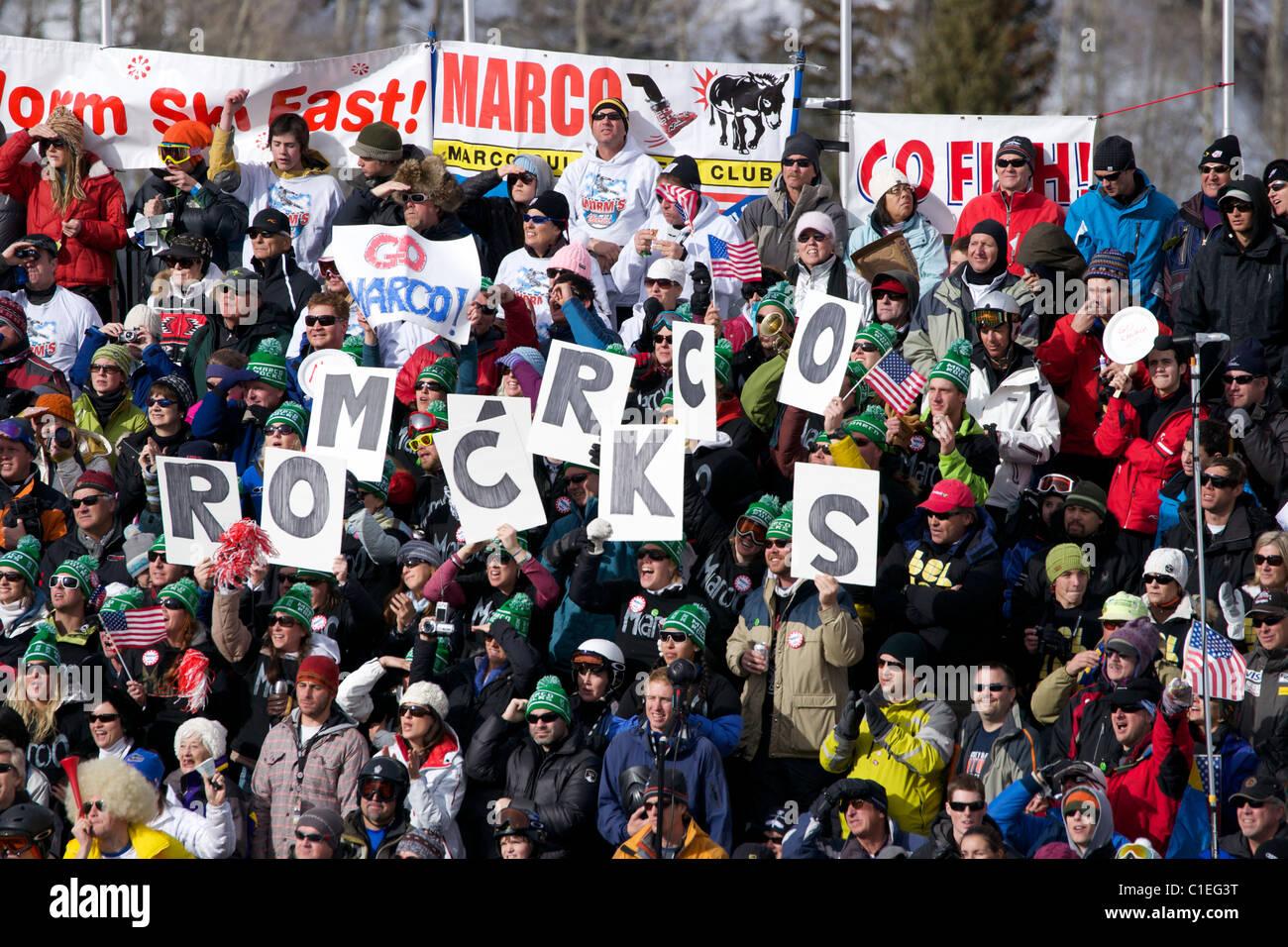 Marco Sullivan's fans in Beaver Creek - Stock Image