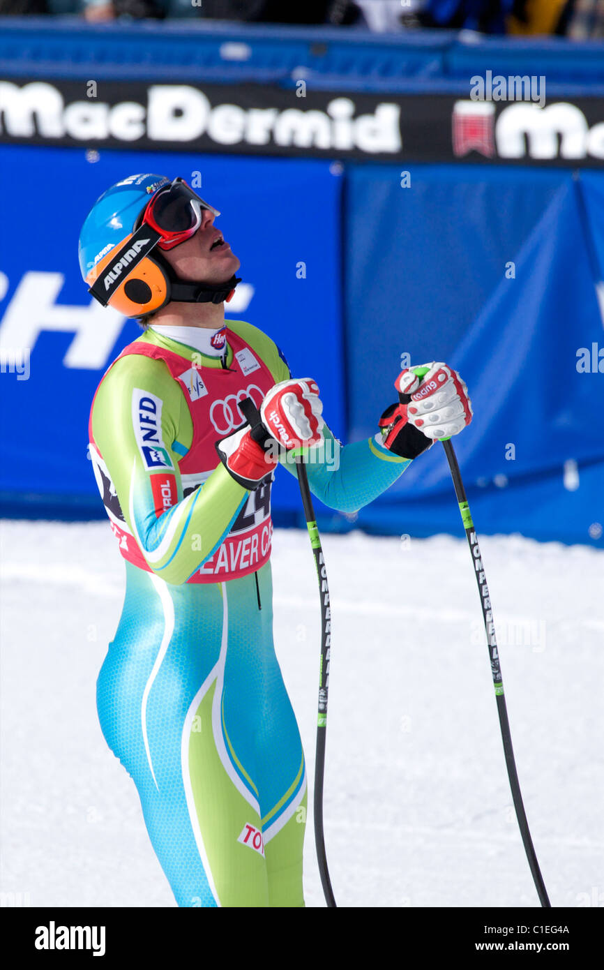 Andrej Jerman 18th place in downhill in Beaver Creek - Stock Image