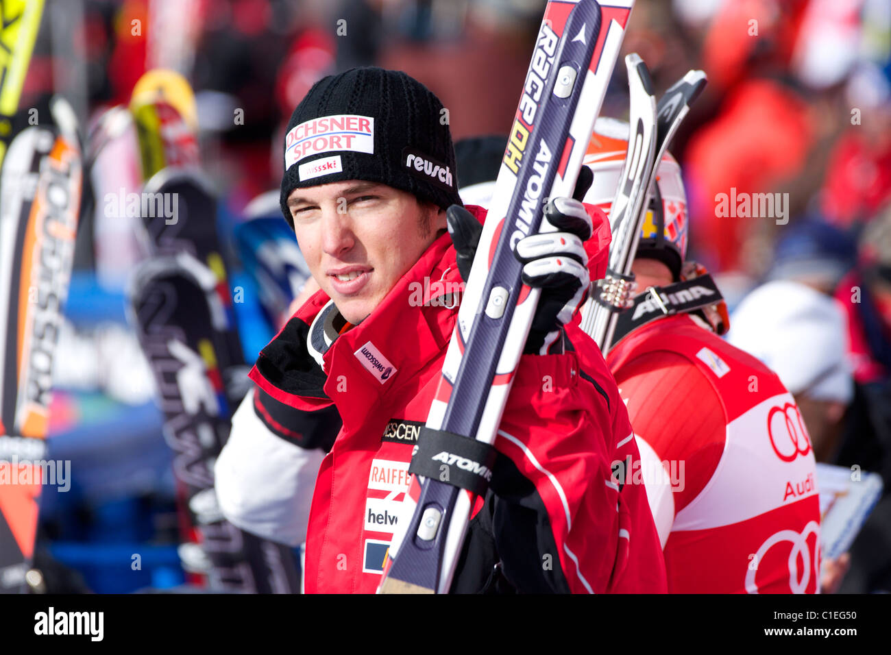Carlo Janka waiting for his turn to go to the podium. 1st place in downhill in Beaver Creek. - Stock Image