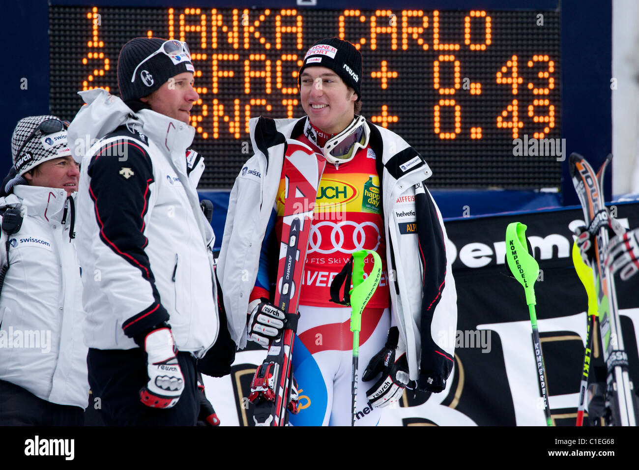 Carlo Janka waiting for his turn to go to the podium. 1st place in super combined in Beaver Creek. - Stock Image
