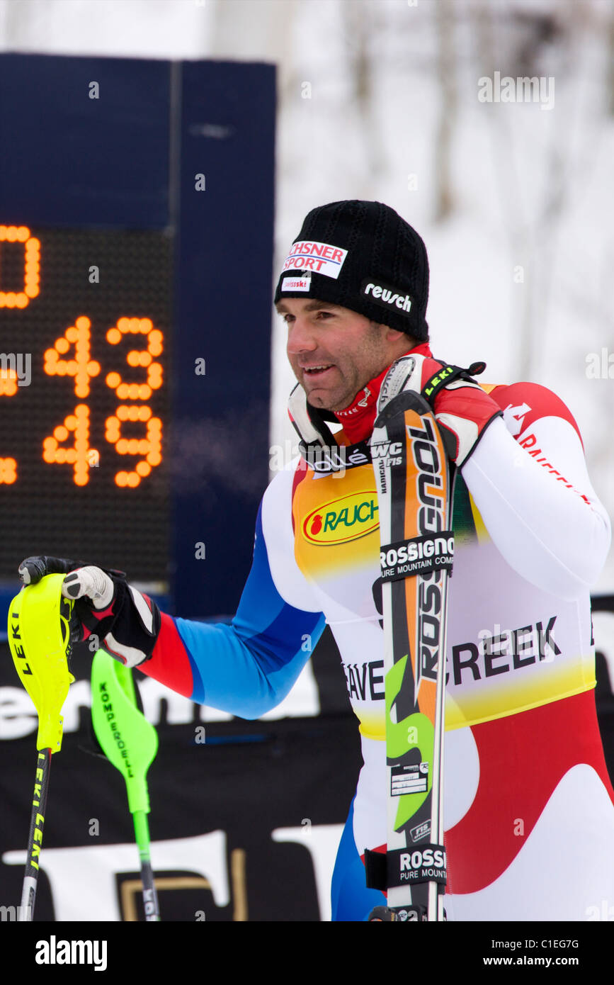 Didier Defago waiting for his turn to go to the podium. 2nd place in Super Combined in Beaver Creek - Stock Image