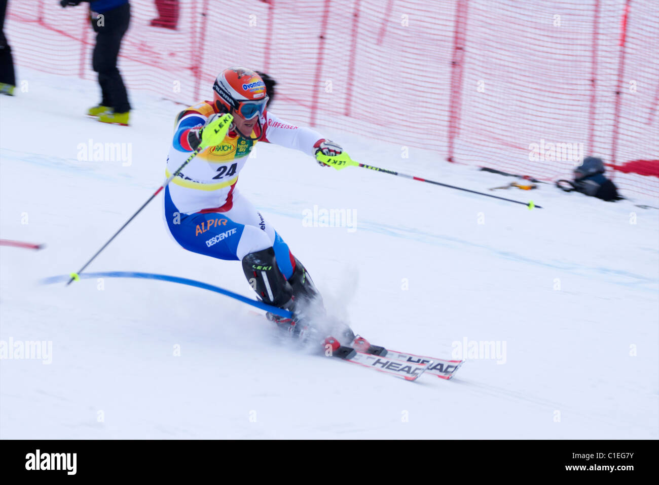 Didier Cuche attacking the slalom course in Beaver Creek - Stock Image