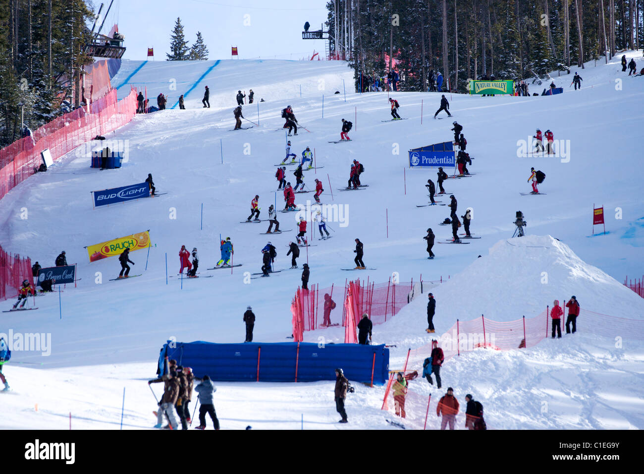 Skiers inspecting the slalom course in Beaver Creek - Stock Image
