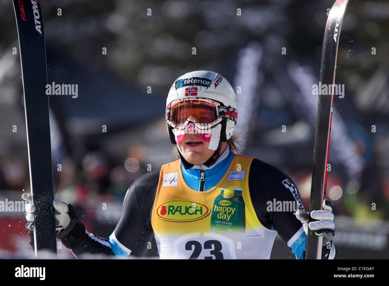 Kjetil Jansrud after finishing a downhill part of Super Combined in Beaver Creek - Stock Image