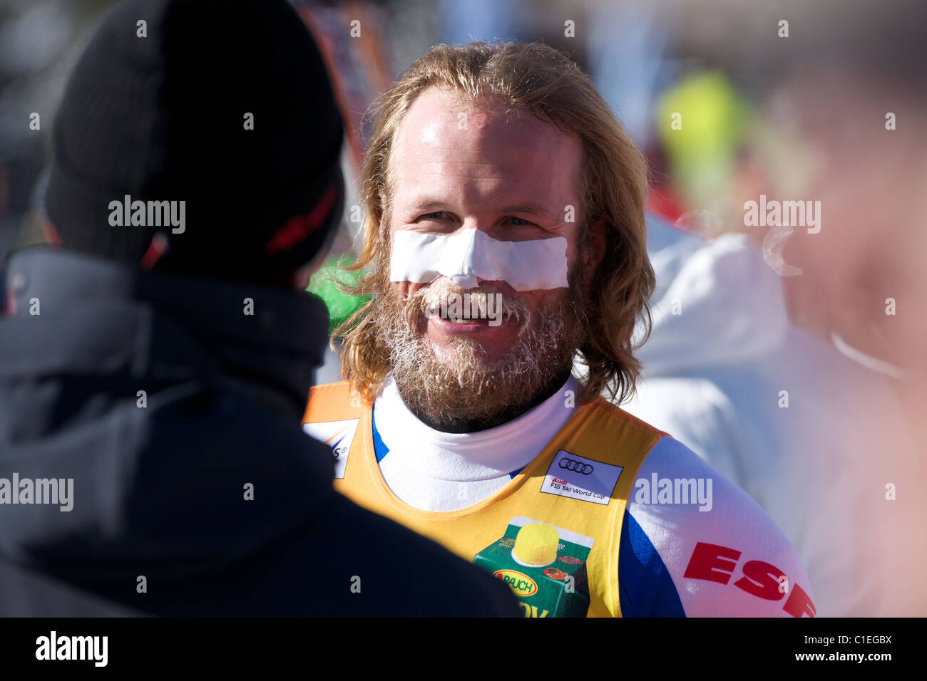 Julien Lizeroux after finishing a downhill part of Super Combined in Beaver Creek - Stock Image