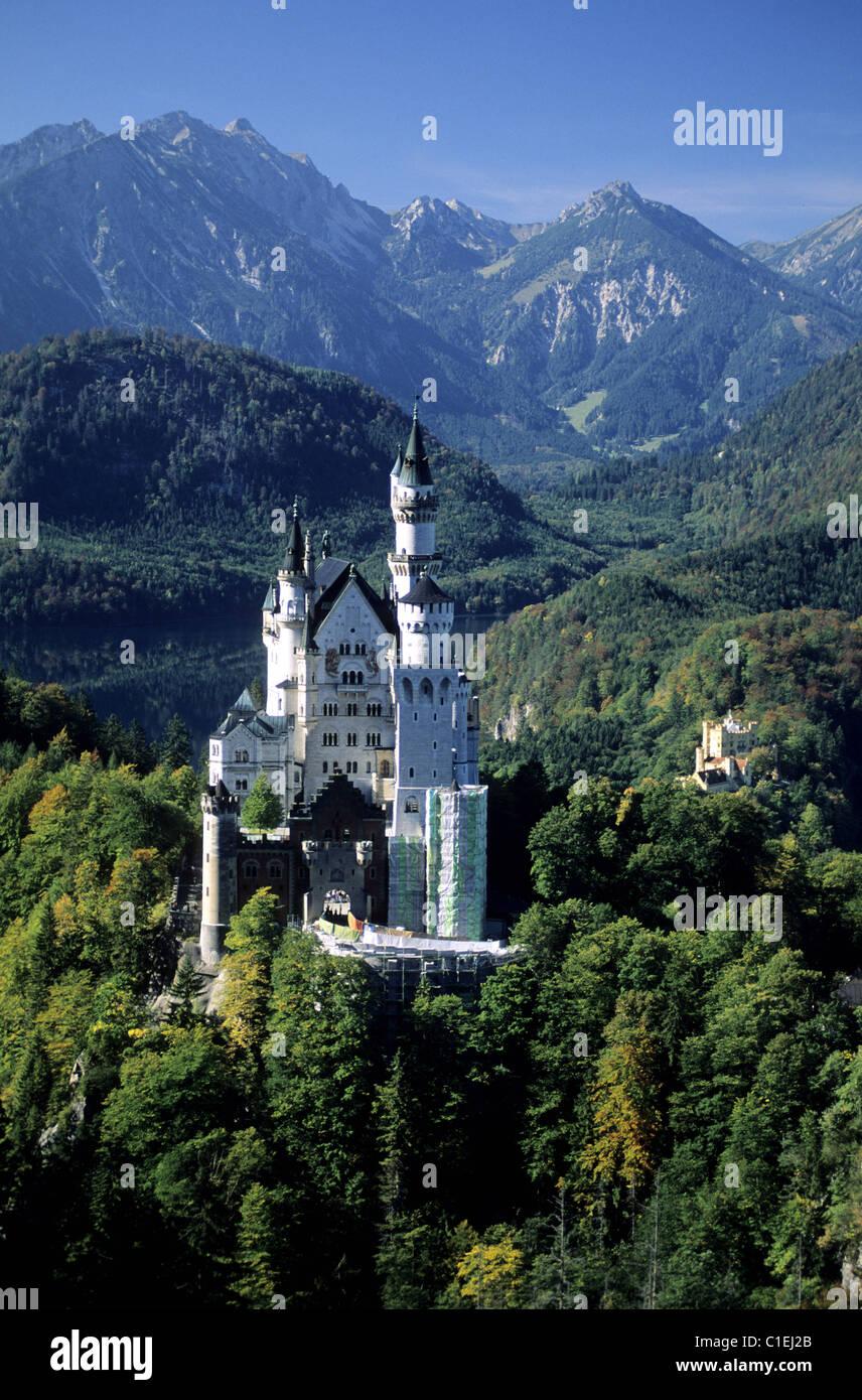 Germany, Bavaria, Ludwig II castle in Neuschwanstein - Stock Image