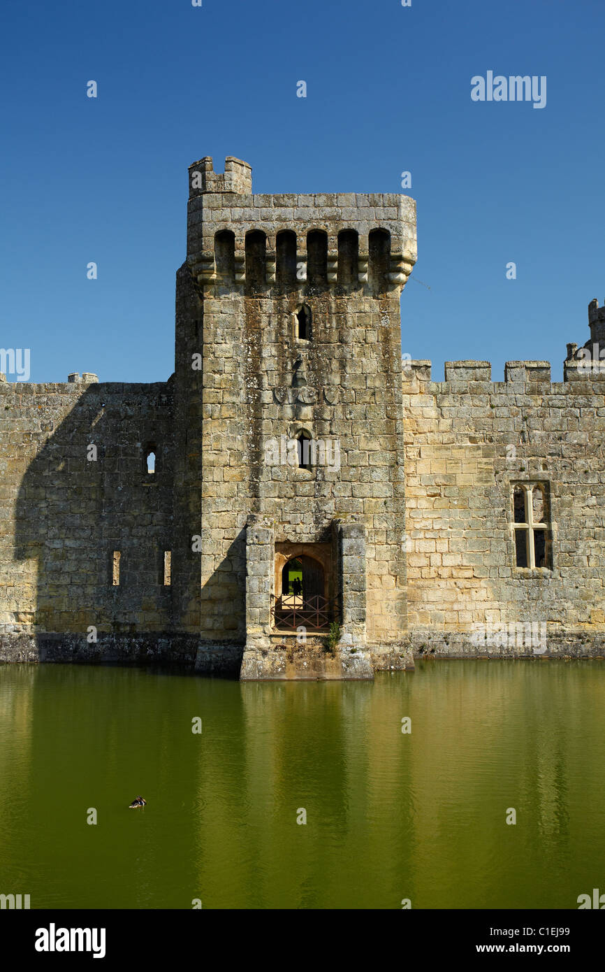 Bodiam Castle (1385), reflected in moat, East Sussex, England, United Kingdom - Stock Image
