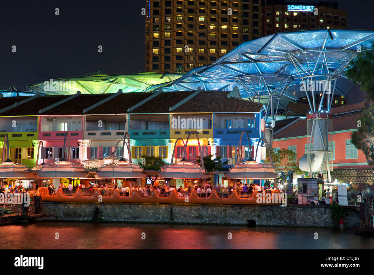 Riverside restaurants at the entertainment district of Clarke Quay, Singapore - Stock Image