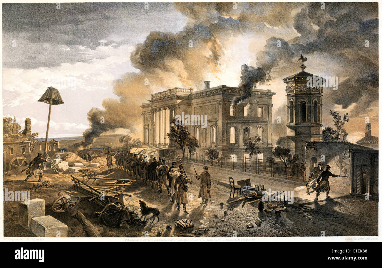 Burning of the Temple of the Winds during the Siege of Sevastopol by William Simpson - Stock Image