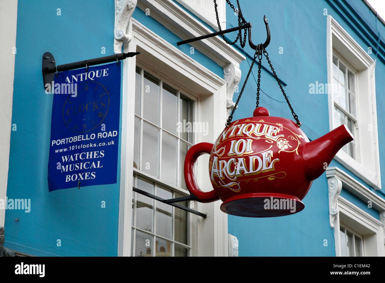 Teapot sign for Antique 101 Arcade on Portobello Road, Notting Hill, London, UK - Stock Image
