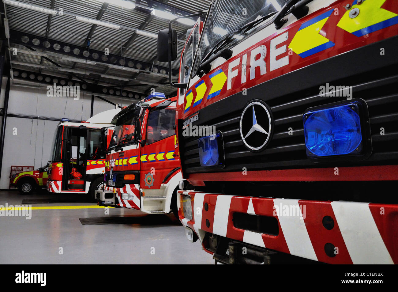 Fire Engines on station awaiting a call - Stock Image