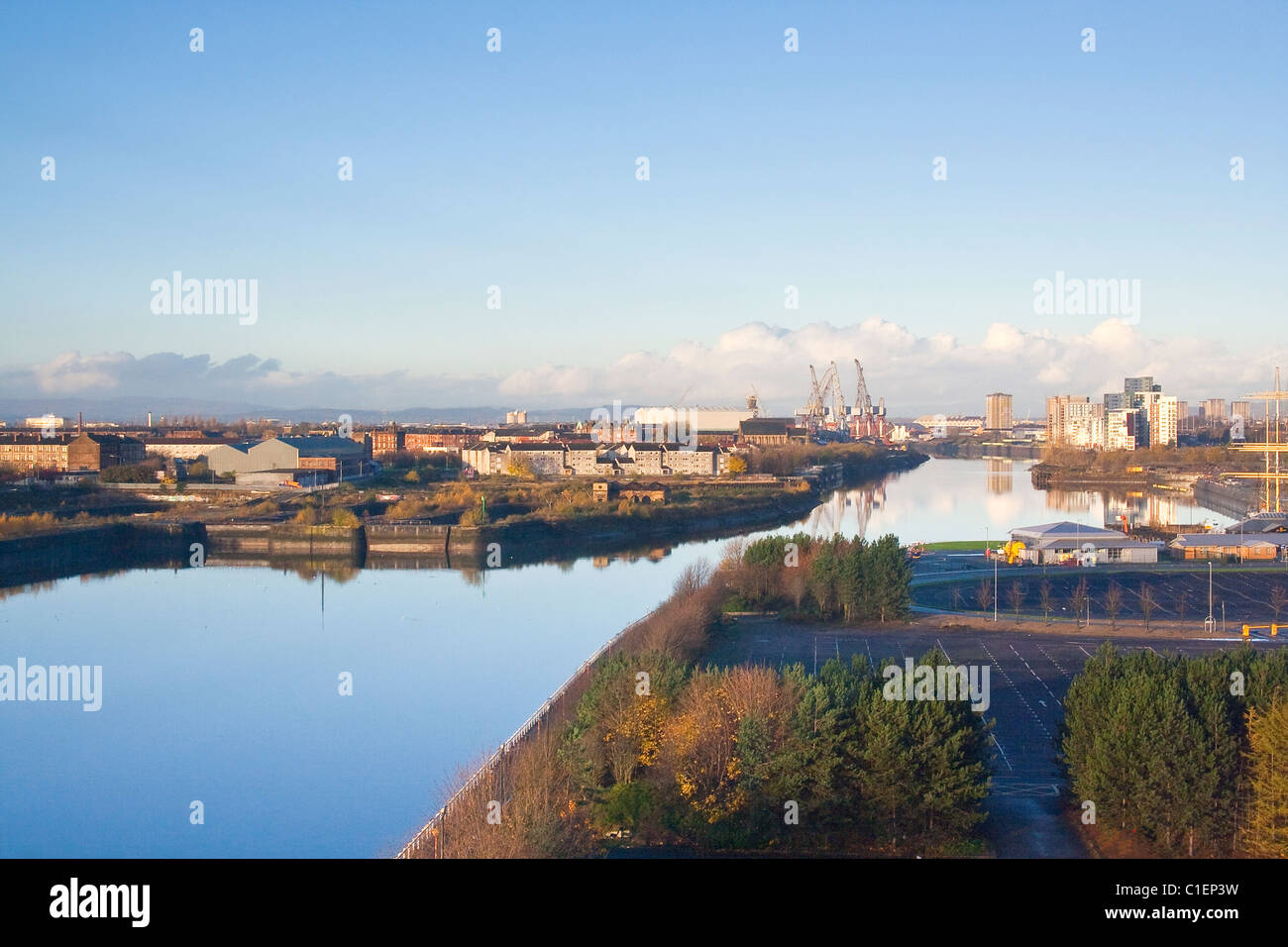 River Clyde Glasgow towards Govan - Stock Image