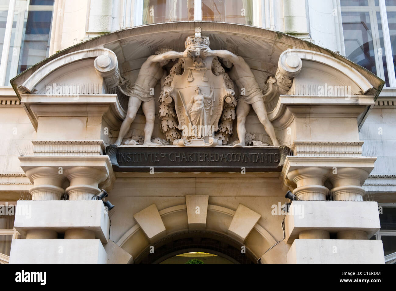 City of London , entrance with coat of arms of the Institute of Chartered Accountants in England & Wales - Stock Image